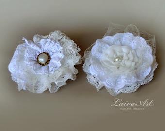 Wedding Fabric Flower Hair Pin Bridal Accessories  Rustic Wedding Vintage Victorian Shabby Chic