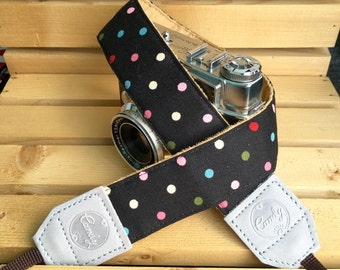 Polka Dot DSLR camera strap,Black Mix Polkadot Camera Strap,  camera Strap ,Gife for Her