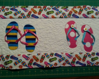 Summer Fun Flip Flop Quilted Table Runner