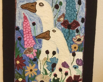 """Hand Hooked Wall Hanging """"Geese In The Garden"""""""