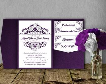 Silver Purple Wedding Invitation Template Kit, Invitation Suite, Wedding  Invitation, Pocket Template,