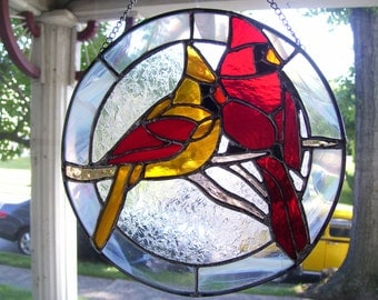 Stained Glass Male & Female  Cardinals Suncatcher