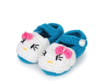 Cute Baby Shoes. Knitted Baby Shoes. New Baby Gift. cute kitty cat shoes  Baby Mary Janes Crochet sandals,daisy booties