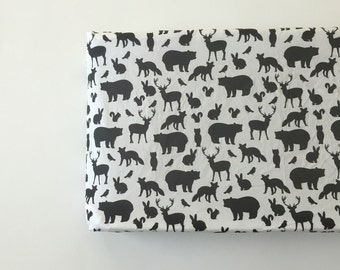 Changing Pad Cover - Woodland Party in Black
