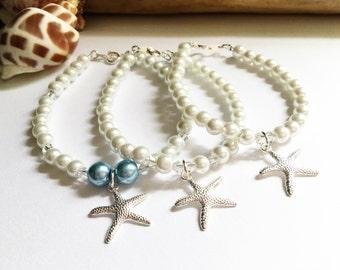 BEACH BRIDE JEWELRY, Bracelet with starfish, Bridal Jewelry, Beach bride, Bridal shower, destination Wedding, Bride's pearl bracelet