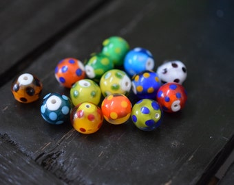 Handmade Round Polka Dot Lampwork Glass Beads, 14pcs