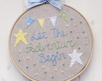 Boys Nursery // Embroidery Hoop Art // Birthday Gift // New Baby