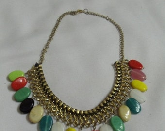 Necklace set with multi colored beads