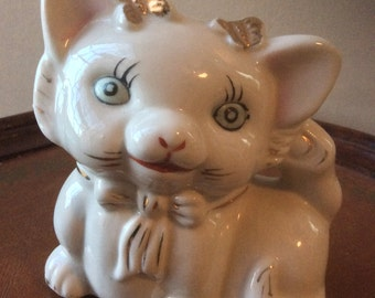 Vintage White Cat Bank With Painted Gold Details -Adorable Face!