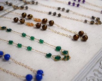 Long Gemstone Necklace // 14K Gold Filled