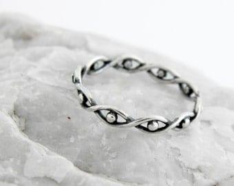 Silver twisted ring Eyes, silver twisted ring, Eyes ring