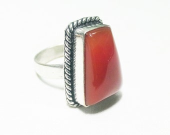 10% OFF!Natural Red oyx stone 925 Sterling Silver Overlay Ring, partywear ring, gemstone ring