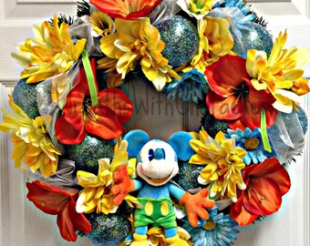 Disney Inspired Mickey Mouse Decorative Party Wreath