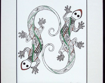 More Hopi design art, pen and ink, Native Hopi artist