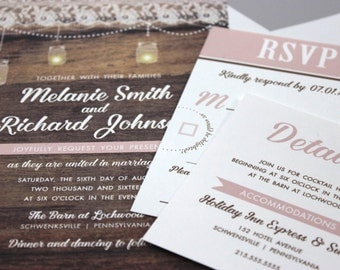 Shabby Chic Wedding Invitations, Faux Wood Wedding, Rustic Mason Jar Wedding Invitations