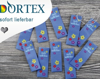 """10 finished label """"made with love"""" - DORTEX Flexinera-Web labels made of polyester yarn"""