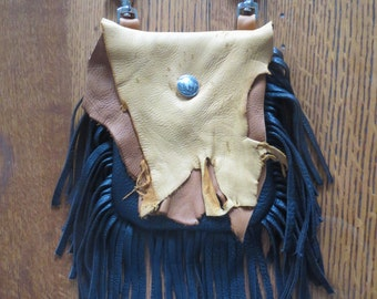 Rustic Deerskin Belt Loop Hip Fringe Bag, Black, Chocolate and Camel Brown