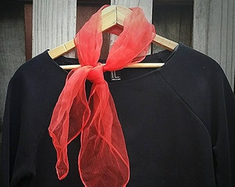 Vintage 1950s Cherry Red Chiffon Scarf
