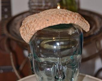 Vintage Estate Beige Woven Rhinestone Half Hat