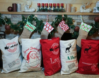 Santa Sacks. Christmas Gift Sacks.  Santa Bags. Custom Santa Sacks.  Personalized Santa Sacks. Great Price. After Christmas Sale
