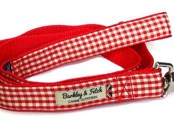 Red Gingham Dog Lead