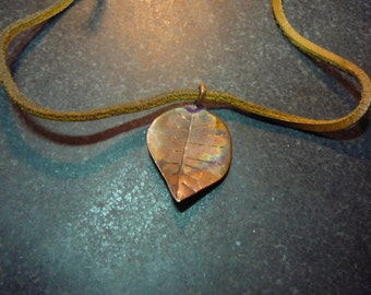 Autumn Leaves...Copper Leaf Pendant and leather cord.