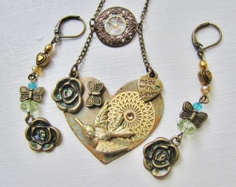 Vintage Style Verdigris Heart Necklace with 3D Hummingbird Stamping and Matching Earrings HTNES29