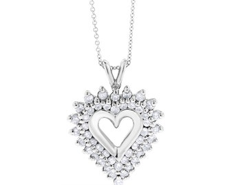1.00 CT Fancy Natural Diamond Heart Pendant with Chain in 14k White Gold
