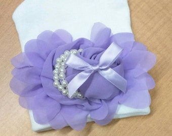 EXCLUSIVE Newborn Hospital Hat Beautiful Lavender Chiffon Flower, With Satin Bow, Pearls and Petals. Simply Divine! Perfect for Baby Girl!