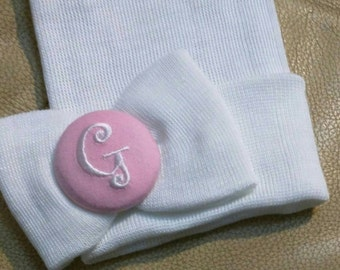 Monogramed Initial Button with Same Material Bow on White Newborn Hospital Hat! 1st Keepsake! Going Home Outfit