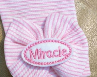 FLaSH SaLE Our Popular Newborn Hat Now with Miracle Applique on Big Bow Newborn Hospital Beanie. Great Gift & Cute for Reveal Party!