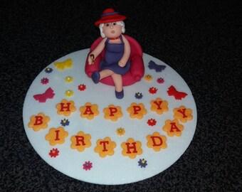 Edible handmade fun drunk old lady birthday retirement cake topper PERSONALISED