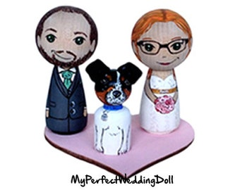 Bride and Groom Cake Topper with Dog - Personalised Wedding Gift