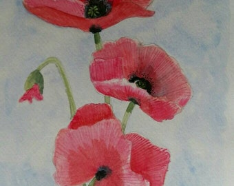 Red poppies, Original watercolour painting not print -  Poppies