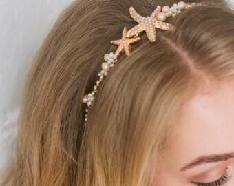 Beach bridal crown Beach wedding hair accessory Sea shell hairpiece Nautical wedding Seashell Tiara Mermaid Head Piece Beach Bridal Halo