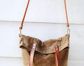 Waxed Canvas Foldover Tote Bag, field tan, hobo bag, crossbody