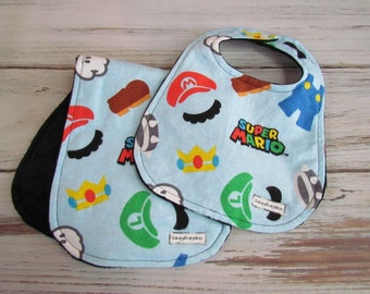 Super Mario Bros Baby Bibs & Burp Set, Mario Brothers Bib and Burp Set, Nintendo Baby Bib and Burp Set, Mario Kart Bibs