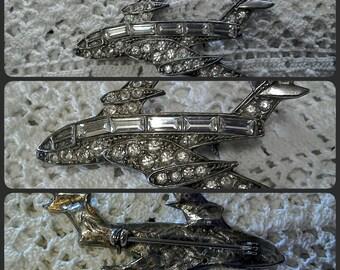 Vintage Diamanté Brooch Concorde Brooch Diamanté Stones Glass Stones Vintage Jewellery Vintage Brooch Airplanes 1970s Jewellery Costume