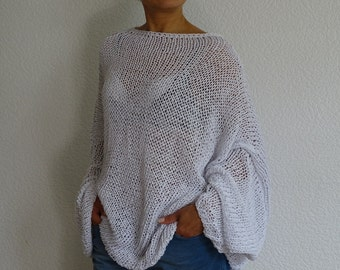 white loose knit sweater, knit oversize sweater, white cotton sweater, knit oversized, knit white sweater, summer sweater, made to order