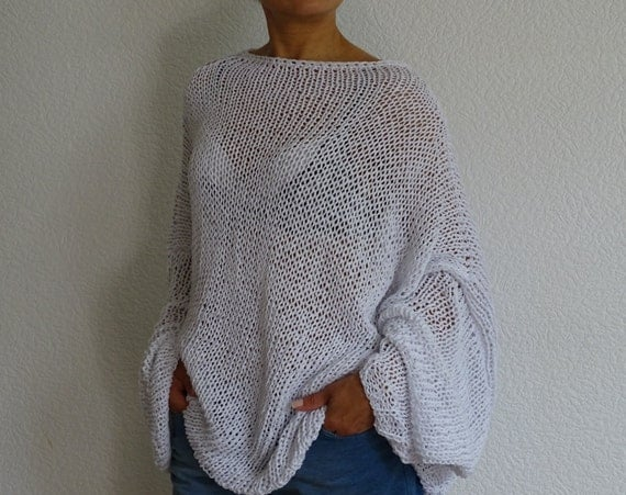 white loose knit sweater knit oversize sweater white cotton