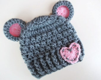 Crochet bear hat Gray bear hat Newborn girl hat Newborn bear hat Baby hat with ears Winter baby girl hat Baby animal hat Baby girl bear hat