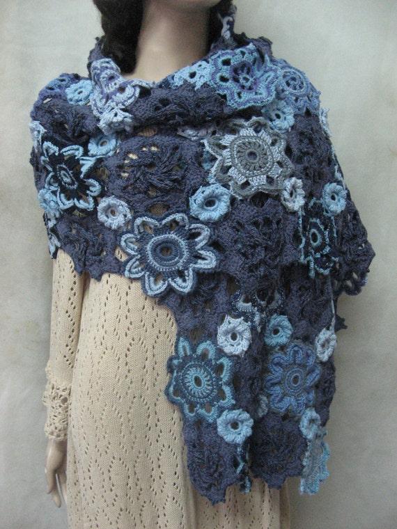 Irish Crochet Lace Shawl Pattern : Crochet shawl irish lace Boho Crochet shawl Blue Lacy Scarf