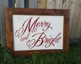 Merry and Bright sign, Christmas sign, holiday sign, Christmas pallet sign, rustic Christmas sign, holiday decor, Christmas decor