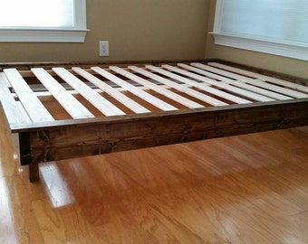 platform bed bed frame low profile bed wood bed twin full queen king cal king guest bed