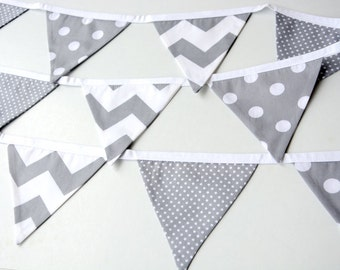 Grey bunting, Nursery decor, Baby shower decorations, baby bunting, monochrome nursery, chevron, fabric bunting, baby girl, baby boy