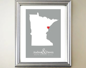 Minnesota Custom Vertical Heart Map Art - Personalized names, wedding gift, engagement, anniversary date