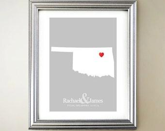 Oklahoma Custom Vertical Heart Map Art - Personalized names, wedding gift, engagement, anniversary date
