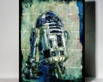 Retro Vintage style Art R2-D2 Drawing Painting Movie Classic Film Home décor Wall Art Mix media Star wars Robot