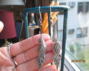 Handcrafted 925 Sterling Silver Designer Genuine Marcasite Macaw Drop/Dangle Earrings, 3 1/4 Inches Long, Wt. 15.4 Grams