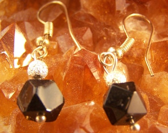 Faceted Jet Glass and Silver Stardust Drop Earrings, Dangle, Simple, Black, Delicate, Tasteful, Small, Light Earring